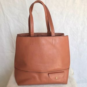 J crew All Day brown leather tote bag